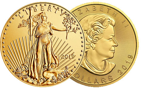 American 1 Ounce Gold Eagle and Canadian 1 Ounce Gold Maple Leaf