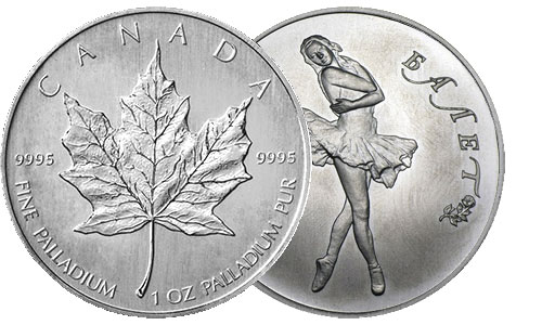 Canadian Palladium 1 Ounce Maple Leaf and Russian Palladium 1 Ounce Ballerina