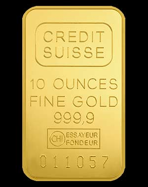 Credit Suisse Gold Bullion Bar 10 OZ Obverse
