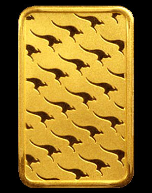 Perth Mint Kangaroo Gold Bullion Bar 10 OZ Reverse