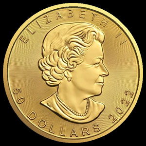 Canadian Gold Maple Leaf 1 OZ Obverse