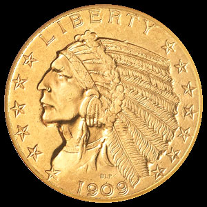 US Indian Head $5 Gold Half Eagle Coin Obverse
