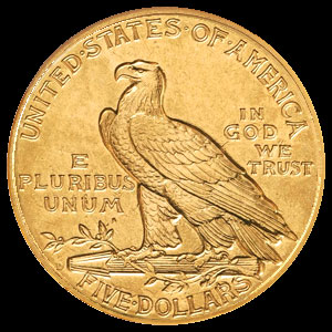 US Indian Head $5 Gold Half Eagle Coin Reverse
