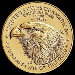 American $5 Gold Eagle 1/10 OZ Reverse