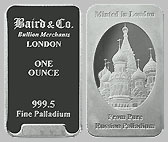 Baird & Co. Palladium Bullion Bar 1 OZ