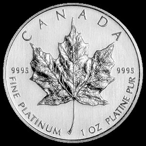 Canadian Platinum Maple Leaf 1 OZ Reverse