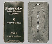 Baird & Co. Rhodium Bullion Bar 5 OZ